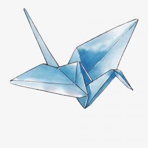 水彩蓝色千纸鹤纹身手稿图片