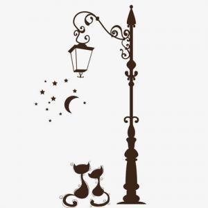 黑色猫咪路灯纹身手稿图片