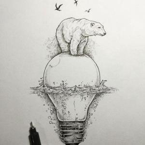 创意北极熊和灯泡纹身手稿图片