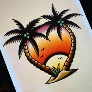 创意爱心椰树纹身手稿图片
