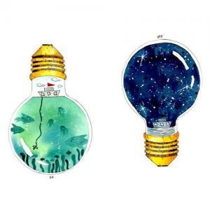 创意个性灯泡纹身手稿图片