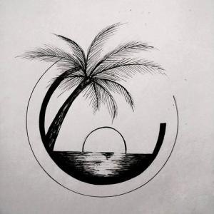 椰树海景纹身手稿图片