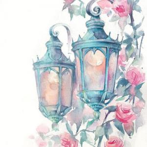 水彩唯美路灯纹身手稿图片