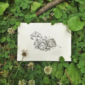 可爱几何松鼠纹身手稿图片