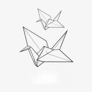 简约黑白千纸鹤纹身手稿图片