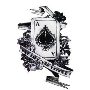 黑桃k黑白复古扑克纹身手稿图片