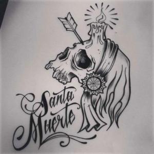 new school 蜡烛骷髅纹身手稿图片