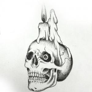 黑白骷髅头蜡烛纹身手稿图片