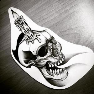 黑灰蜡烛骷髅纹身手稿图片