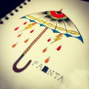 彩色个性雨伞纹身手稿图片