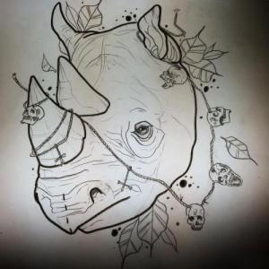 欧美犀牛school骷髅纹身手稿图片