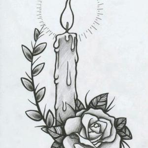 欧美school 玫瑰花蜡烛纹身手稿图片