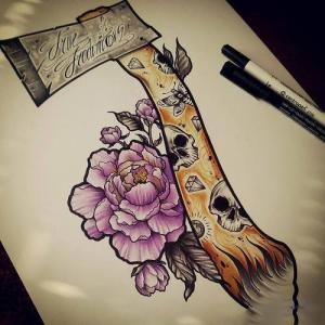 彩色斧头玫瑰纹身手稿图片