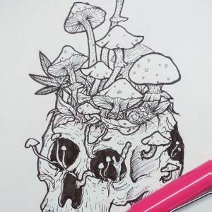 创意骷髅头蘑菇纹身手稿图
