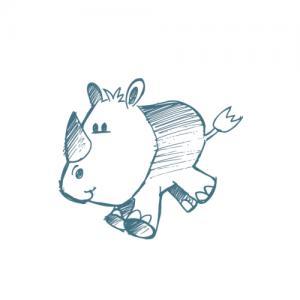 可爱小犀牛纹身手稿图片