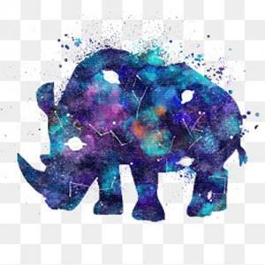 唯美银河水彩晕染犀牛纹身手稿图片