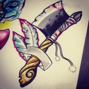 斧头个性纹身手稿图片