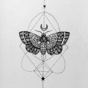 手绘黑白飞蛾纹身手稿图片