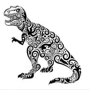 黑白花纹恐龙纹身手稿图片