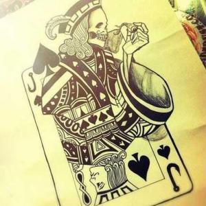 水彩骷髅扑克纹身手稿图片
