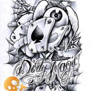 创意扑克纹身手稿图片