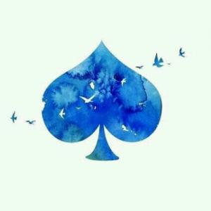 水彩唯美扑克纹身手稿图片