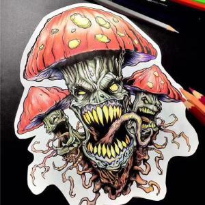 邪恶蘑菇纹身手稿图