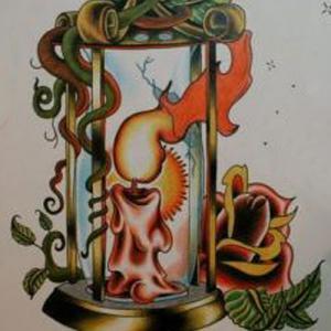 蜡烛玫瑰英文字母纹身手稿图片