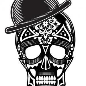戴帽子的黑白骷髅头纹身手稿图片