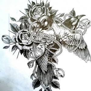 玫瑰麻雀纹身手稿图片
