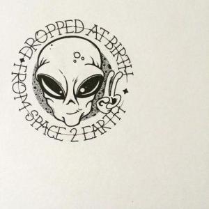 创意个性外星人纹身手稿图片