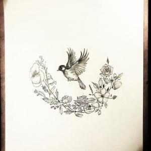 麻雀花环纹身手稿图片