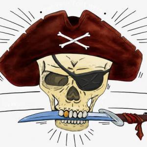 卡通海盗骷髅头纹身手稿图片