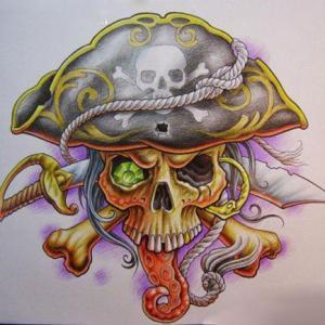 海盗骷髅纹身手稿图片