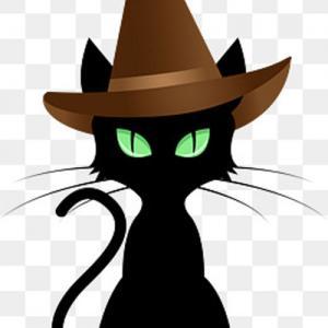 卡通黑猫巫师纹身手稿图片
