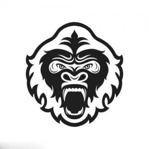 黑白猩猩纹身手稿图片