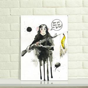 创意水墨猩猩纹身手稿图片