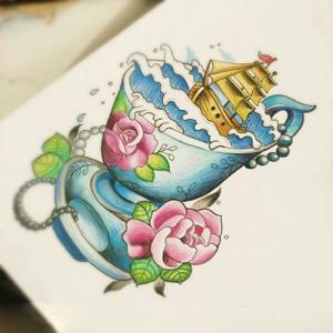 创意花瓶里的帆船纹身手稿图片