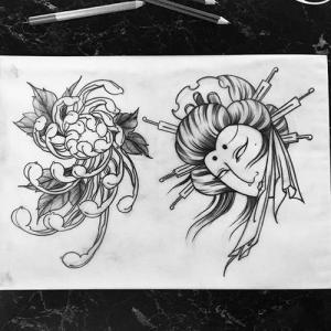 日式艺伎生首.菊花纹身手稿图片