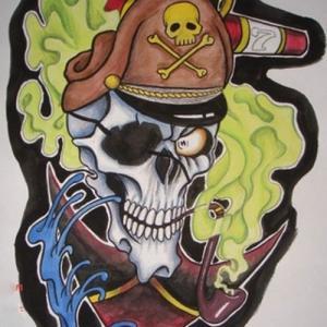 彩色海盗骷髅头纹身手稿图片