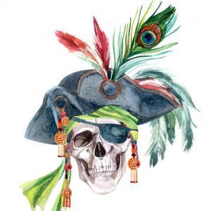 彩色水彩海盗骷髅纹身手稿图片