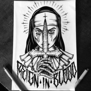 newschool修女纹身手稿图片