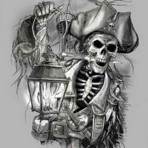 西方海盗骷髅头纹身手稿图片