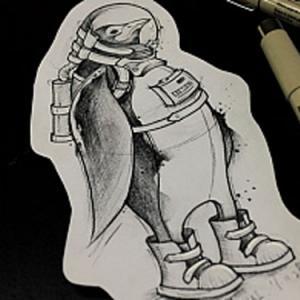 创意企鹅纹身手稿图片