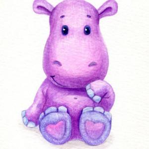 紫色可爱小河马纹身手稿图片