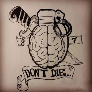 创意大脑手雷纹身手稿图片