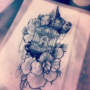 唯美鸟笼纹身手稿图片