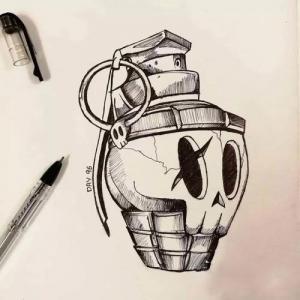 骷髅手雷纹身手稿图片