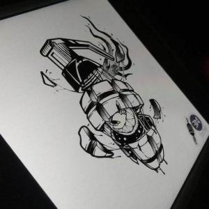 创意个性手雷纹身手稿图片