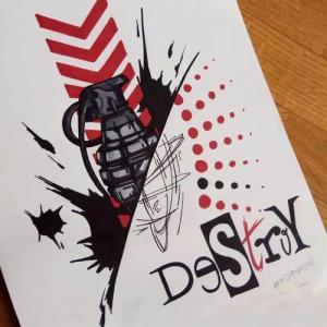 创意手雷纹身手稿图片